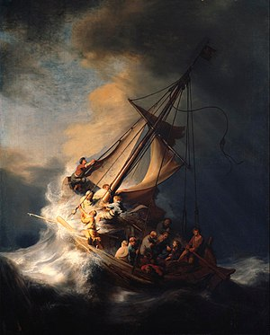 Christus in the storm on the lake; Rembrandt (...