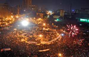English: Celebrations in Tahrir Square after O...
