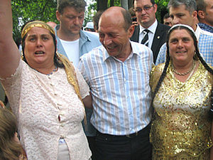President Traian Basescu at the Gypsy Festival...