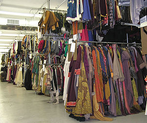 Racks of costumes at TDF's Costume Collection.