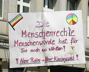 Christopher Street Day in Cologne, 2007. Sloga...