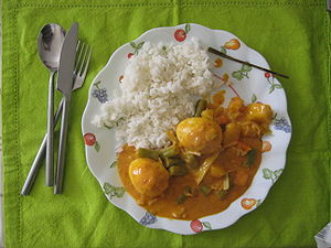 English: Curry with eggs Nederlands: Curry met...