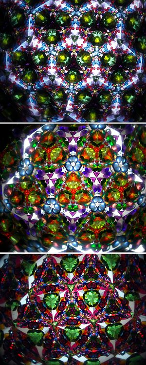 Patterns generated by a kaleidoscope.