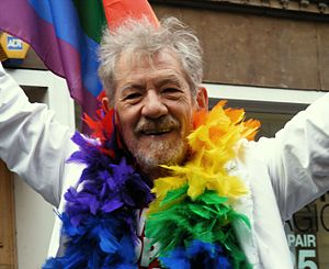Sir Ian McKellen at Manchester Pride Parade on...