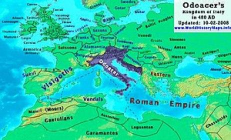 Possedimenti di Odoacre nel penultimo decennio del V secolo