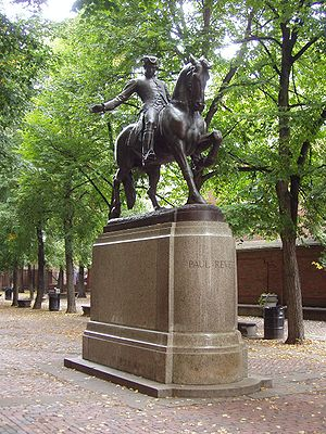 Statue of Paul Revere by Cyrus E. Dallin, in t...