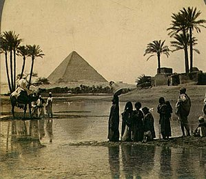 Great Pyramid of Giza from a 19th century ster...