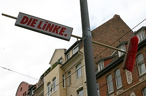 Election campaign of the Linkspartei in German...