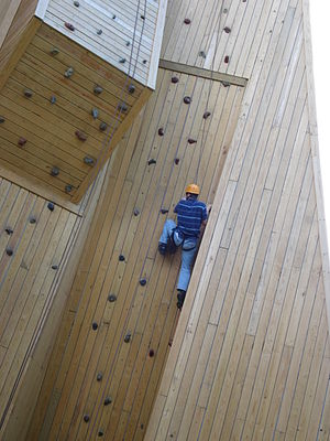 English: Wood climbing wall at a camp in Wisco...