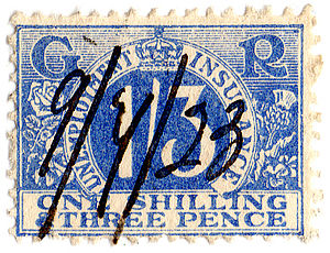 English: 1923 unemployment insurance stamp.