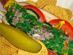 A Chicago-style hot dog