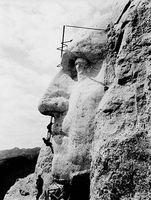 Construction at Mount Rushmore of George Washi...