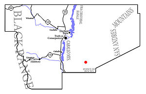 Simplistic map of Sierra County, New Mexico, i...