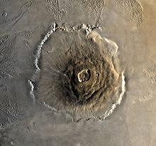 O gigantesco Olympus Mons, o maior vulcão do sistema solar.