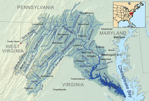 Map showing the Potomac River drainage basin.