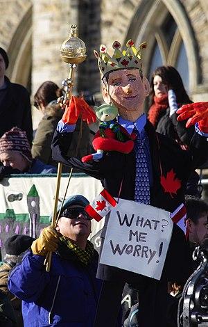Effigy of Prime Minister Stephen Harper at the...