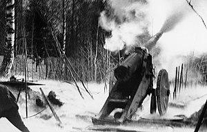 English: Heavy artillery in Impilahti. Svenska...