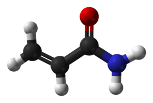 Ball-and-stick model of the acrylamide molecul...