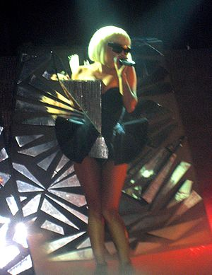 Gaga performing on the Fame Ball tour