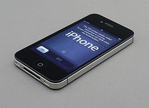 English: An iPhone 4S on its setup screen.