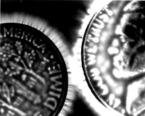Kirlian photo of two coins
