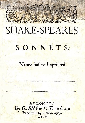 English: Title page of Shakespeare's Sonnets (...