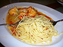Spaghetti served with crayfish