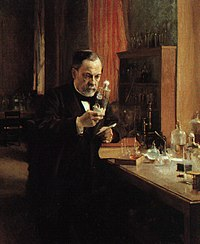 Louis Pasteur in his laboratory, painting by A...