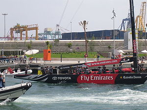 NZL-92 returning to port in Valencia.