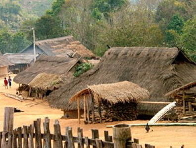 An Akha village, with the traditional thatched...