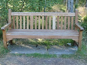 Bench near Cawthorne Camps car park. Wooden be...