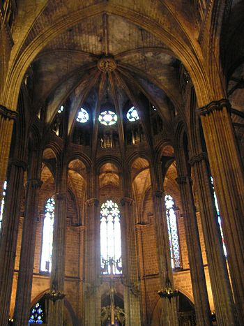 Cathedral of Santa Eulalia in Barcelona. ; Ita...