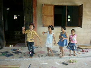 Thai girls dancing to Isan music in a private ...