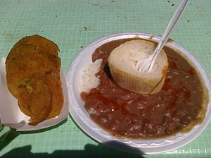 Food at New Orleans Jazz Fest. Red beans & ric...