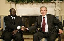 Kiir with United States President George W. Bush