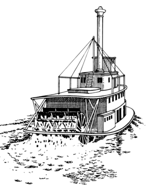Drawing of a Stern-Wheeler ship.
