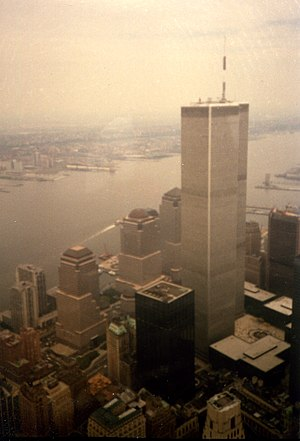 the twin towers of the World Trade Center in N...