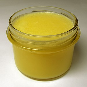 Clarified butter at room temperature