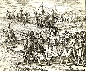 Columbus landing on Hispaniola
