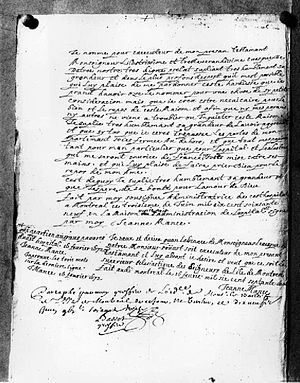 Photograph of Jeanne Mance's will (1672), copi...