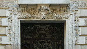Lintel of the entry of a building in Paris, wi...