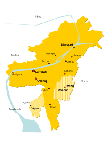 Political boundary of Assam in the 1950s.