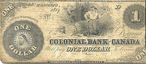 English: One dollar banknote issued by the Col...