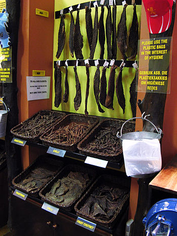 English: A display in shop that sells biltong.