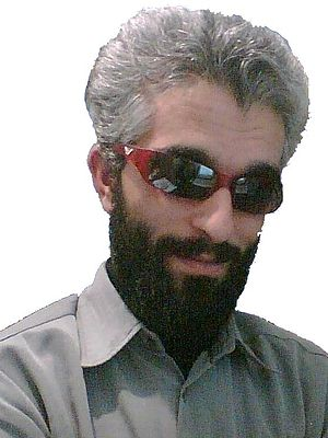 Picture from typical blind man with dark eyegl...