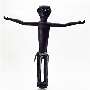 Black, wooden ancestor figure