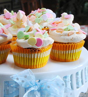 Ginger Mango cupcakes with Polka Dots with blu...