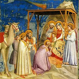Adoration of the Magi by Florentine painter Giotto di Bondone (1267–1337). The Italians have a long tradition of associating a comet with the Star of Bethlehem.