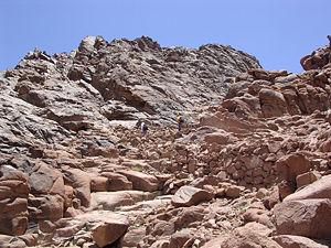 Climbing the trail near the summit of Mount Sinai.