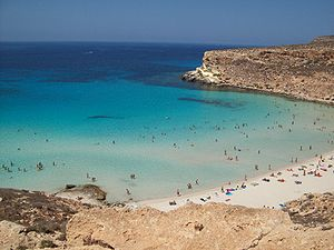 Beach oh Rabbit's Island in Lampedusa (Italy)